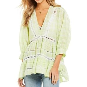 Free PeopleTime out lime combo lace tunic